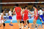 图文:中国男排2-3再负法国 队员开心得分