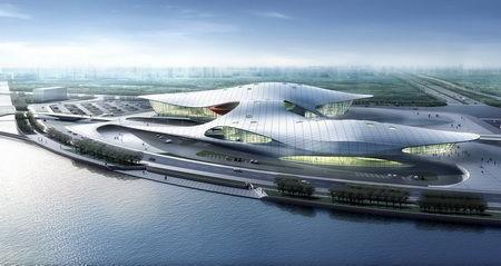 广州亚运城综合体育馆鸟瞰效果图