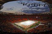 高清图:世界杯闭幕式即将举行 足球城万事俱备