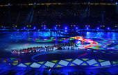 高清图:世界杯闭幕式举行 足球城球场流光溢彩