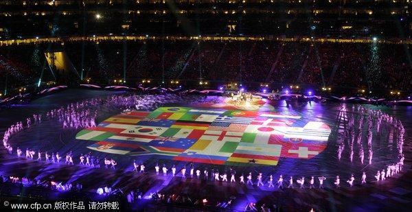 世界杯闭幕式流光溢彩