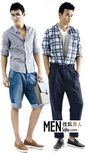 格纹衬衫 5cm 牛仔短裤