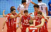图文:世界男排联赛俄罗斯胜意大利 庆祝得分
