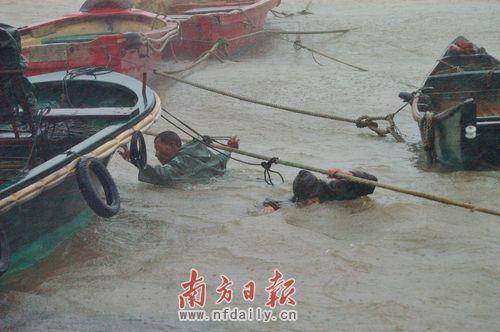 """""""灿都""""台风登陆时,阳江市沙扒渔港狂风暴雨,阵风达11级。图为渔民将小船加固。周辑 摄"""