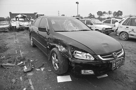 肇事本田车损坏严重