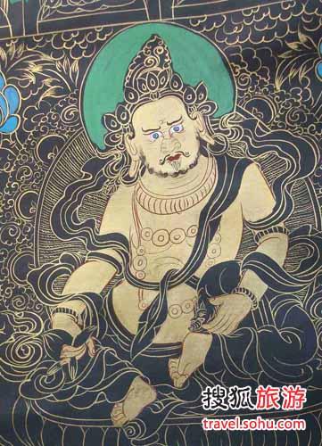 黑唐卡善于表现神灵的的忿怒身
