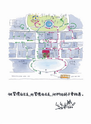 手绘场景地图,包括男女主角居住的公寓,他们相遇的公园,几米咖啡馆