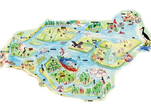 大学生手绘西洞庭绿地图 呼吁人们保护珍稀物种
