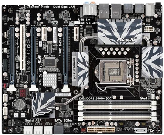 精英发布高端黑系P55主板 亦有前置USB 3.0