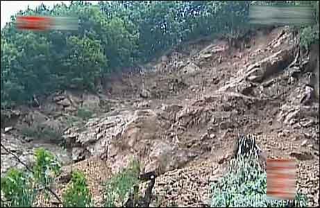 山体滑坡(来源:北京电视台视频截图)
