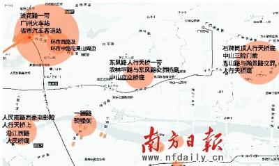 """南方日报记者连续3个月走访,绘出广州中心城区""""乞讨地图"""",图中橘黄色为乞丐集中区。"""
