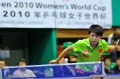 图文:女乒世界杯小组赛首轮 郭跃发球犀利