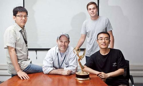 (上图左起)Base FX公司首席运营官谢宁、首席执行官Christopher Bremble、《太平洋战争》项目经理Tolly swallow、特效总监任激波。