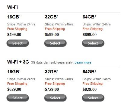 苹果官网WiFi版和3G版iPad零售价格