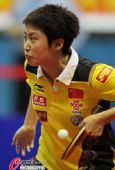 图文:乒乓球世界杯女团夺冠 郭跃回球特写