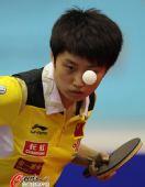 图文:乒乓球世界杯女团夺冠 郭跃汗流如雨