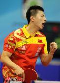 图文:乒乓球世界杯男团登顶 马龙庆祝胜利
