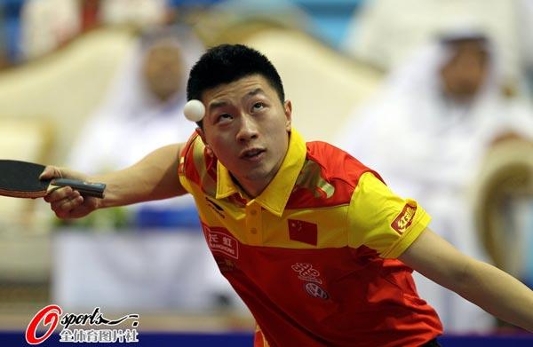 图文:乒乓球世界杯男团登顶 马龙瞪大双眼