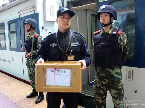 亚运奖牌抵达广州火车东站