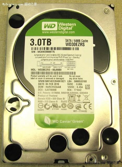 西部数据3TB容量绿盘谍照曝光