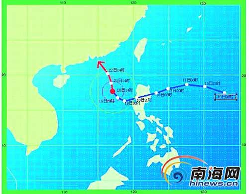 """""""鲇鱼""""路径图。蓝色为实况路径,红色为预报路径。"""