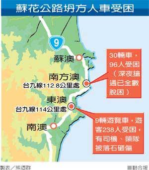 台湾《联合报》发布的落石塌方地点示意图