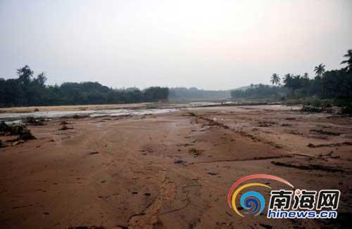 农田被大水冲来的淤泥铺盖。(南海网记者汪德芬摄)