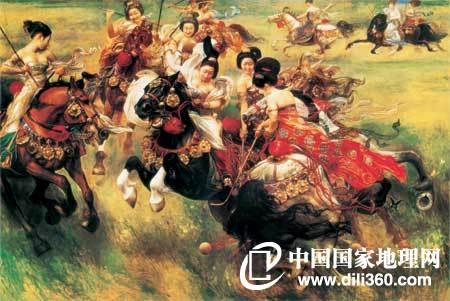 盛唐是今人眼中的盛唐 画家王可伟绘制的这幅画中,几位盛装的唐代美女正在草地上欢快地打马球。你看她们粉肩全露、酥胸半露,这不仅仅是绘画作者的艺术夸张,也代表了现在大众对唐代的印象。