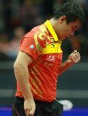 图文:男子乒球世界杯王皓进四强 握拳鼓励自己