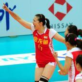 图文:中国女排3-0多米尼加 周苏红庆祝得分