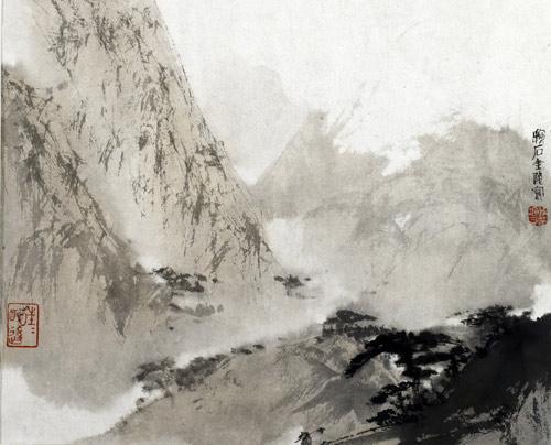 艺术漆手绘山水图