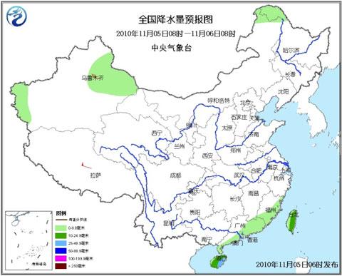 5日8时至6日8时降水预报图