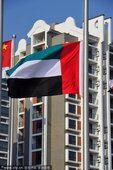 图文:阿联酋代表团举行升旗仪式 旗手升旗