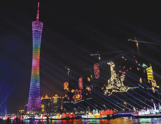 """广州塔就燃放了""""木棉花开""""的造型"""
