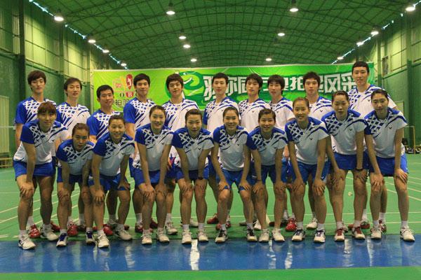 韩国国家羽毛球队亚运会合影