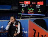 图文:女子斯诺克6红球中国摘银 陈思明在思考