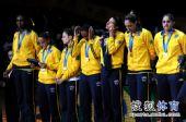 图文:女排世锦赛颁奖仪式 巴西队获得亚军