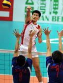 图文:亚运男排预赛第一轮 中国队胜中华台北