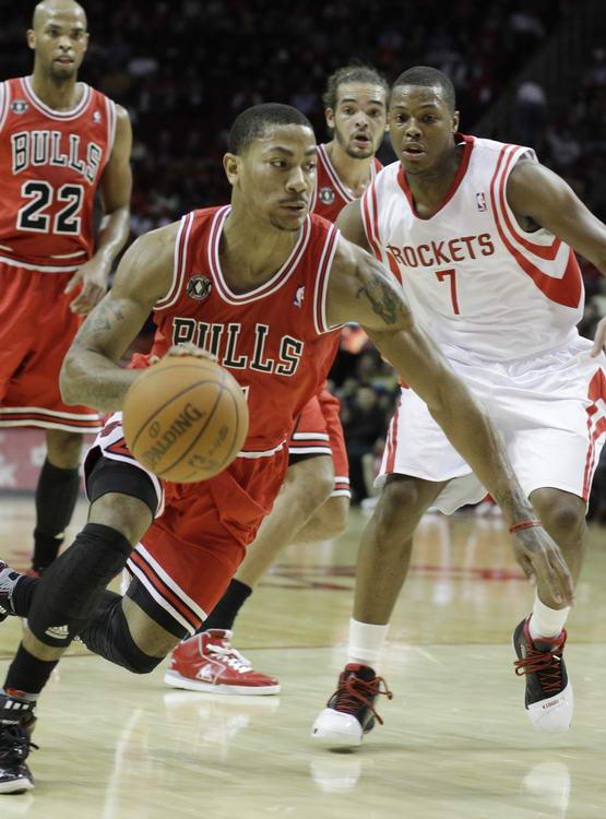 罗斯/图文:[NBA]火箭VS公牛罗斯突破洛瑞