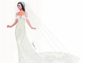曾为戴妃做嫁衣的英国设计师伊丽莎白·伊曼纽尔为凯特设计的是白色低胸长拖尾婚纱,胸前有大量精美蕾丝和珠宝装饰。