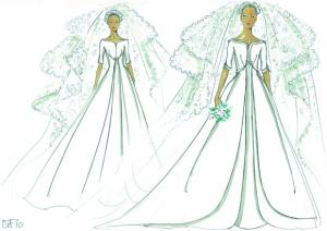 乌弗·弗兰克选择象牙色绸缎婚纱,利用褶皱制造修长但华美的侧面。