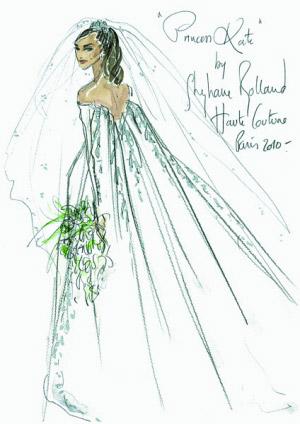 法国设计师斯蒂芬・罗兰侧重干净的剪裁,婚纱上精美的刺绣。