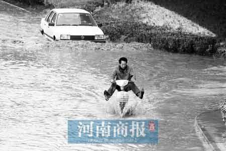 """这不是大雨过后积水的场面,而是自来水主管道爆管后""""水漫金山""""   河南商报记者 王春胜/摄"""