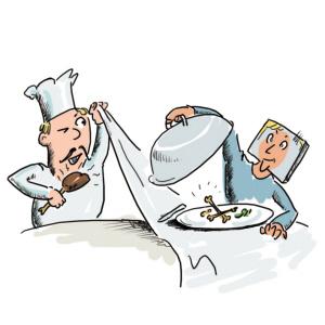团购网站上套餐中明明是鸡排,现在怎么成了鸡骨架? …… 漫画:陈东阳团购