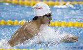 图文:男子4X100米混合泳 第二棒王帅在比赛中