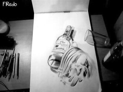 铅笔手绘立体画