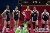 图文:亚运女排比赛中国VS韩国 神情有些焦急