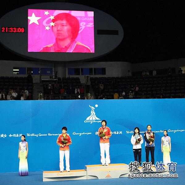 图文:乒乓球女单颁奖仪式举行 颁奖现场全景