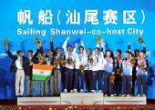 图文:帆船颁奖仪式举行 帆船公开对抗赛前三名