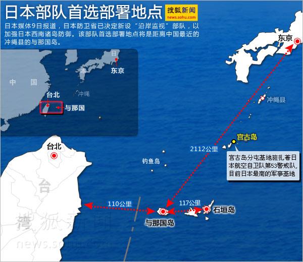 日本军事布防弓形岛链围堵中国